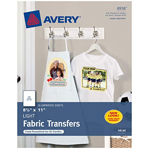 Avery Printable T-Shirt Transfers, For Use on Light Fabrics, Inkjet Printers, 18 Paper Transfers (8938)