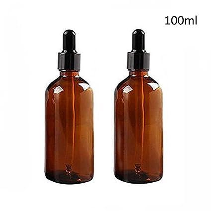ericotry 2 botellas de cristal de 100 ml con cuentagotas de cristal de ámbar vacío para