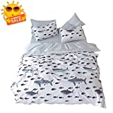 BuLuTu Shark Fish Queen Boys Duvet Cover White Grey 100% Cotton,Ocean Whale Print Reversible Striped Teen Kids Bedding Sets Full/Queen Cotton for Girls with Zipper Closure and Ties,No Comforter