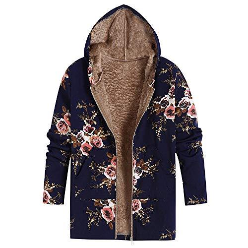 JOFOW Womens Hooded Jacket Parka Flowers Floral Print Warm Flannel Lined Vintage Long Loose Coats Winter Plus Size XXXL (5XL =US:22-26,Navy-Dandelion Gross) ()