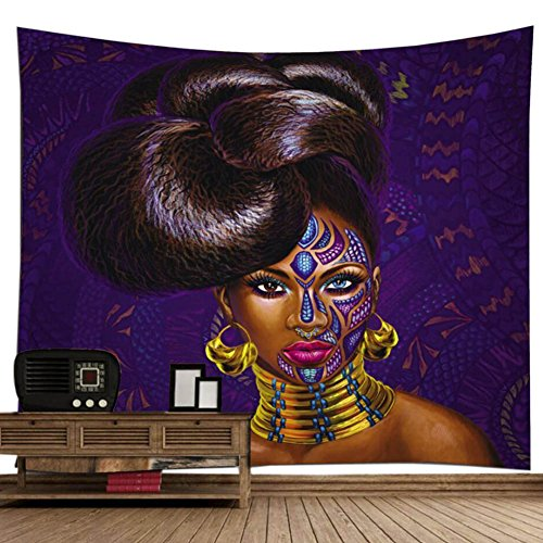 "African American Black Art Digital Print Wall Art Tapestry, Poppap Graffiti Style Noble Hairstyle Girl With Face Tattoo Earrings Metal Collar Painting Wall Decor For Living Room Bed Room/ 79""X 71\""Inch"