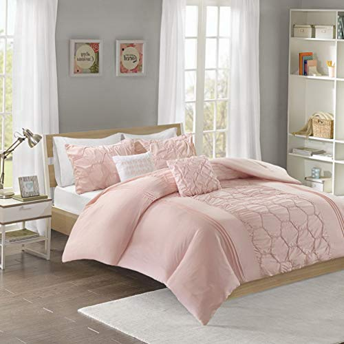 Kaputar Beautiful Ultra Soft Pink Ruffled Pleat Tufted Ruched Girls Comforter Set New | Model CMFRTRSTS - 993 | Twin