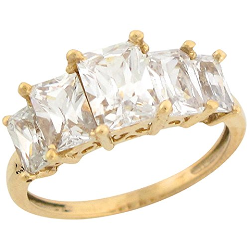 14k Yellow Gold Five Stone White CZ Regal Designer Ladies Ring by Jewelry Liquidation