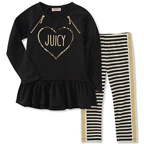 Juicy Couture Girls' Toddler Tunic Legging Set, Black Pool/Yarn Dye Stripe, 3T - Juicy Couture Stripe Velour