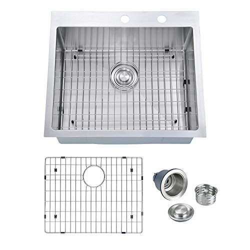 PRIMART PHT2522S 25-Inch Handmade Topmount 16 Gauge Stainless Steel Single Bowl Drop-in Kitchen Sink With 2 Faucet Hole, Bottom Grid & Drainer -