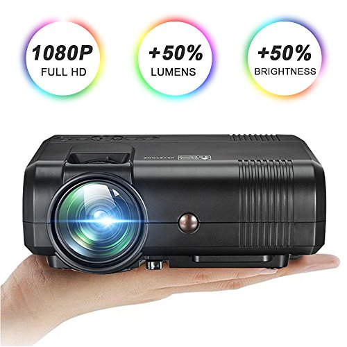 Video Projector with HD 1080P, GOXMGO 2200 Lumens LED Mini Portable Projector for Multimedia Home Theater, Movie Projector Support HDMI, USB, SD, VGA, AV for Home Cinema TV Laptop Game Smartphone by GOXMGO