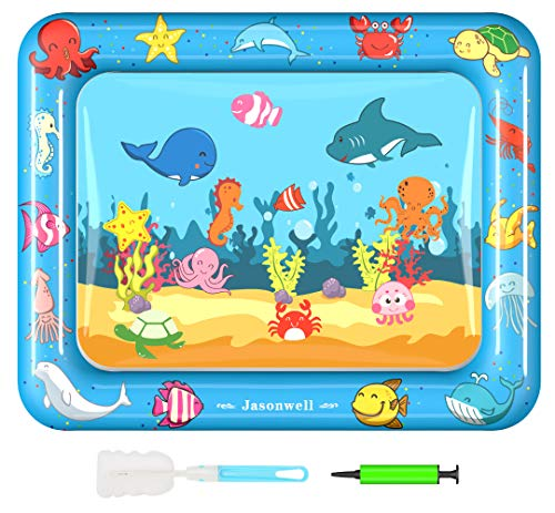 Jasonwell Tummy Time Water Mat Baby Toys 3 6 9 12 Months Old 30X24 Inches X-large Inflatable Water Play Mat for Infant Toddlers Fun time Play Activity Center Early Brain Development Stimulation Growth