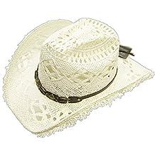 Modestone Women's Cool Summery Straw Hat Straw Fringe On Brim White