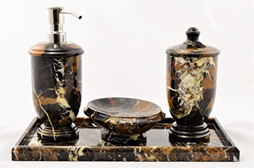 Nature Home Decor 300MA234VT Michelangelo Marble Atlantic Collection 4-Piece Bathroom Accessory Set with Vanity ()