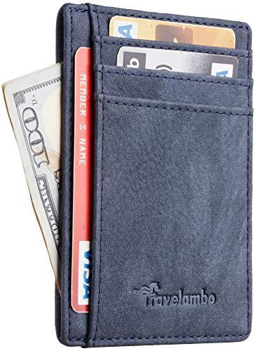 Travelambo Front Pocket Minimalist Leather Slim Wallet RFID Blocking Medium Size(Oldo Blue)