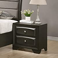 Roundhill Furniture B138N Oakland Antique Gray Finish Wood 2 Drawers Nightstand