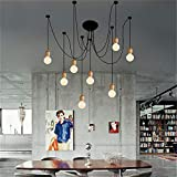 SUSUO Lighting Modern Chic Multi Pendant Chandelier Adjustable DIY Ceiling Spider Pendant Lighting (Wood)
