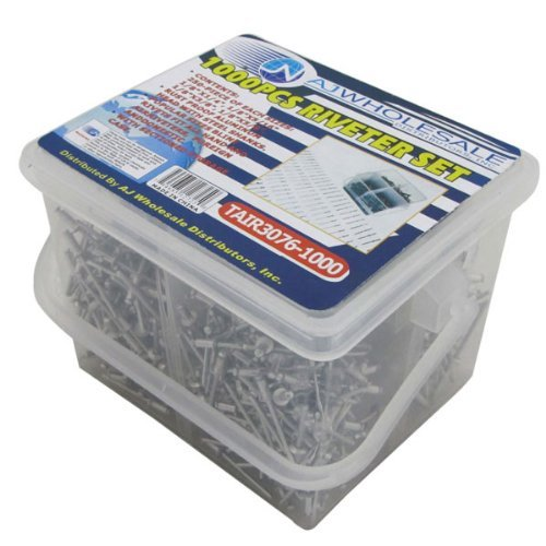 """1/8"""" Blind Rivet Set Universal Fit for Air Powered and Hand Rivets Kit (1,000 Pieces)"""