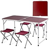 Giantex Outdoor Picnic Table with 4 Chairs, Aluminum Folding Camping Table with Carrying Handle, Portable and Height Adjustable