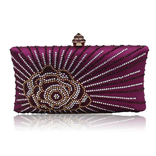 Flada mujeres y señoras de perforación caliente rhinestones flor noche embrague bolso monedero con cadena amarilla Púrpura