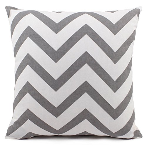 sitiawan Decorative Handmade Zebra Stripe Solid Cotton Canvas Square Toss Throw Pillow Sham Cushion Cover for Patio, 24 X 24 Inches, Silver Grey