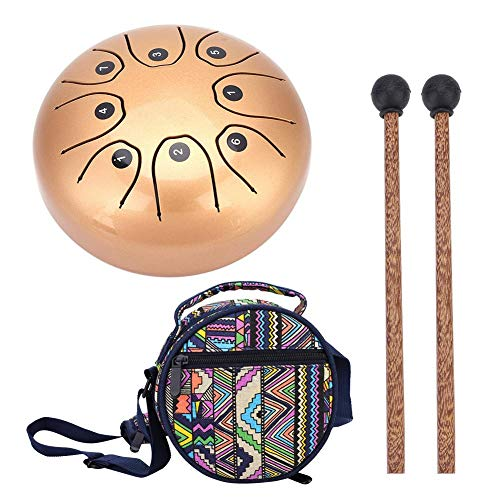 (Vbestlife Steel Tongue Drum Hang Drum Tank Drum, Hand Pan Handpan Tongue Tank Drum 5.5 Inch Percussion with 1 Mallets and Carrying Bag (Gold & Coffee)(Gold))