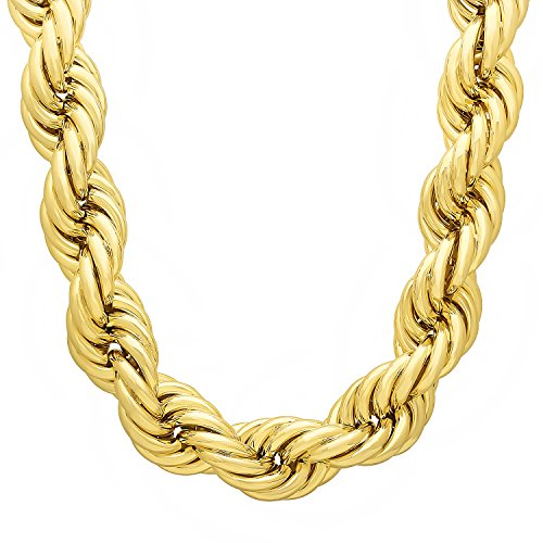 The Bling Factory Jumbo 30mm 14k Gold Plated Hip Hop Dookie Rope Chain Necklace, ()