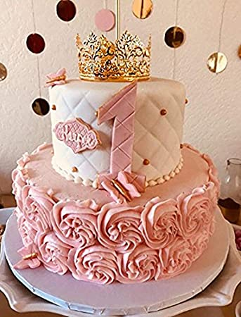 QICI Gold Crown Cake Topper Vintage Princess Birthday Decoration Wedding