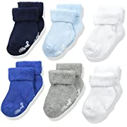 Little Me Baby Boys' 6 Pack Socks, Blue/White/Gray, 6-12 Months