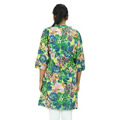 Étnica Botón Kurti algodón de arriba hacia abajo las mujeres usan ropa kurta india verde -1