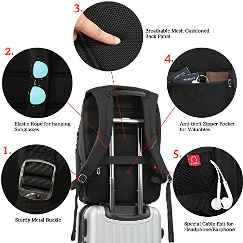 18 inch large Laptop Backpack for Men,Water Resistant Polyester Backpack with USB Charging Port,Large Bookbag College Backpack Travel bag Black Business Backpack fit 15.6 17.3 laptops by Outjoy by OUTJOY (Image #2)