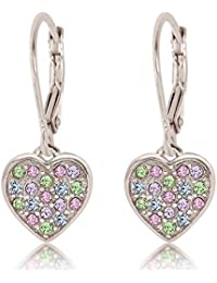 Kids Earrings - 925 Sterling Silver with a White Gold Tone Classic Clear Heart Secure Leverback Earrings kids,...