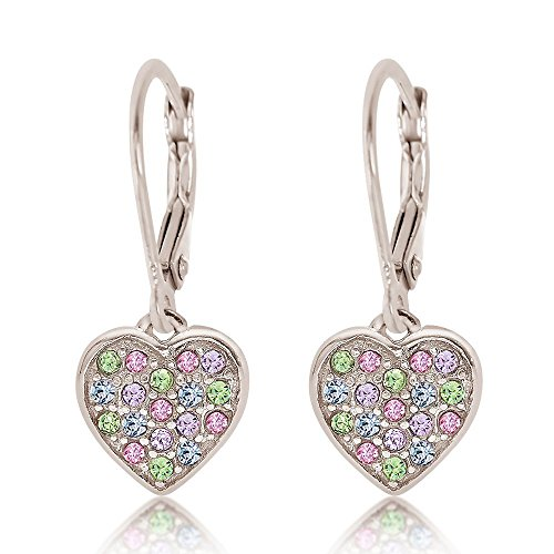 - 925 Sterling Silver with a White Gold Tone Mixed Colored Crystal Heart Leverback Children's Earrings