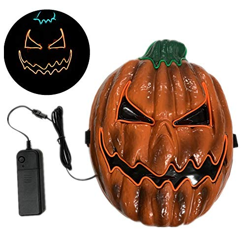 Halloween Led Mask,Led Light Up Mask,Glowing Pumpkin Mask,Cosplay Mask Rave Mask,Masquerade Mask,El Wire Cosplay Mask For Halloween, Christmas, Thanksgiving, Carnival Crazy Festival Party Supply]()