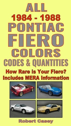 (All 1984 - 1988 Pontiac Fiero Colors, Codes & Quantities: How Rare is Your Fiero? (All Car Colors) (Volume 12))