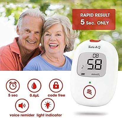 Kit de monitor de glucosa en sangre Safe AQ Voice con 50 tiras reactivas: Amazon.es: Salud y cuidado personal