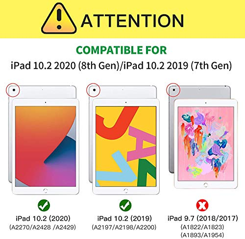 ZtotopCase for New iPad 8th/7th Generation 10.2 Inch 2020/2019 Case ,Built-in Screen Protector, Dual Layer Shockproof Full Protective Cover with Pencil Holder for iPad 10.2'' 2019&2020, Black