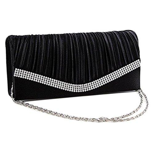 Sinwo Women Pleated Satin Wedding Evening Bridal Clutch Purse With Rhinestones Wallet Handbag (Black)