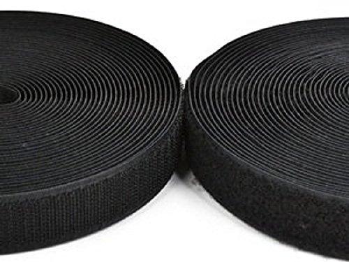HG-X 10 Yards Black Sew on Hook and Loop Band Strap 1 Inch Loop