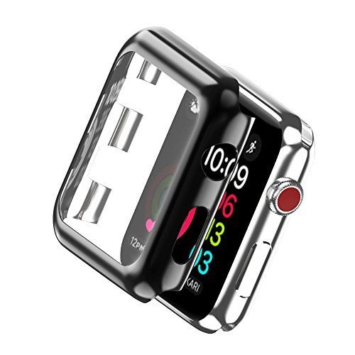 KONKY Apple Watch Series 3 Case, Electroplate Metal Plated PC Slim Hard Protective Bumper HD Screen Protector Cover Case for Apple Watch Series 3, 42mm (Black) (Protector Hard)