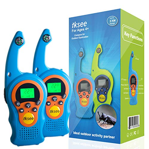 iKsee 2019 Must-Have Dung Beetle Walkie Talkie Set for Adults and Kids with Compass Flashlight, 3+ Mile Long Range Two Way Radios Toys Gifts for 4-12 Boys Girls Awards and Family Games (Blue,1 Pair) by iKsee (Image #7)