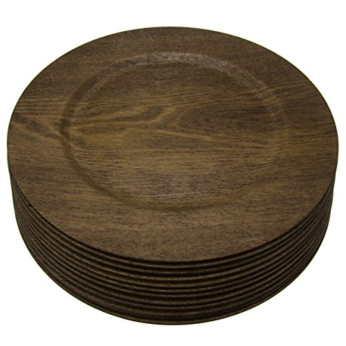 12 Pack Round 13 Inch Wooden Skin Charger Plates Gibson Home Dinner Servers Bulk Set