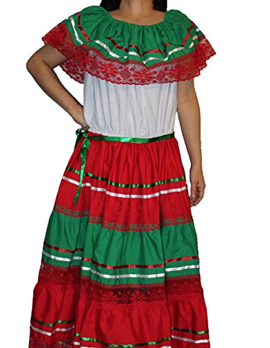 (Oro Import Women's Tricolor Gypsy Lace Peasant Mexican Dress One Size Multicolored)