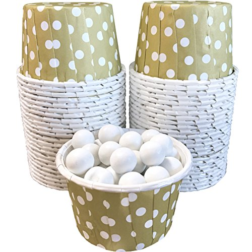 Candy Nut Mini Baking Paper Treat Cups - Gold and White Dot - 2 x 1.5 Inches
