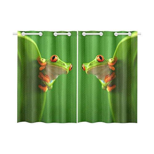 InterestPrint Happy More Custom Frog Window Curtain Kitchen Curtain 26