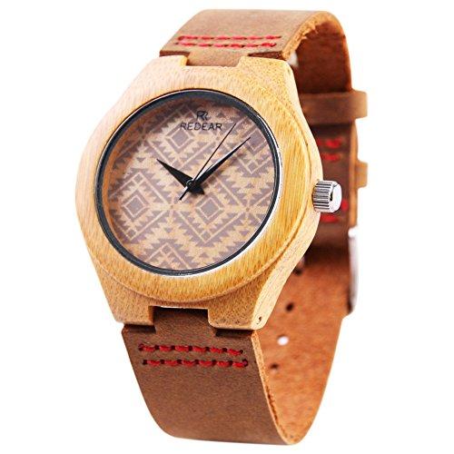 Studyset Reloj de pulsera de madera de cuarzo simple casual de bambú caja de madera correa de piel reloj de pulsera, BurlyWood 2, Talla única