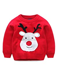 Mud Kingdom Boys Girls Christmas Deer Knit Sweater Pullover