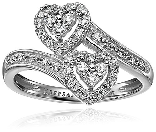 Keepsake Signature 14k White Gold Diamond Double Heart Engagement Ring (1/4cttw, H-I Color, I1 Clarity), Size 8
