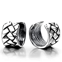 Pair of Vintage Ear Cuff Ear Clip Non-piercing Clip on Earrings for Men and Women Stainless Steel