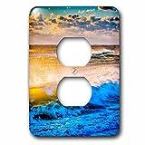 3dRose lsp_208717_6 Usa, Virginia, Chincoteague Island. Shoreline Scenic At Sunrise. - 2 Plug Outlet Cover