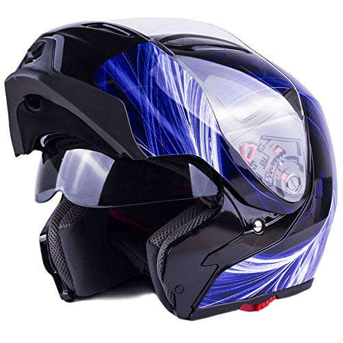Typhoon Modular Motorcycle Helmet DOT Dual Visor Full Face Flip-up - Blue Medium