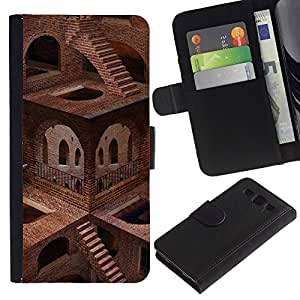 Ihec-Tech / Flip PU Cuero Cover Case para Samsung Galaxy S3 III I9300 - Architecture Impossible Stairs