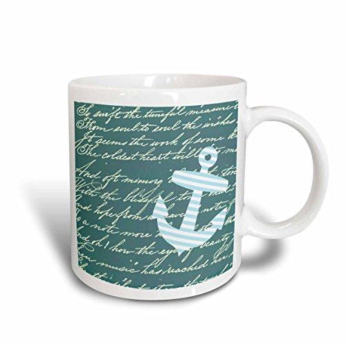 3dRose Turquoise Anchor, Teal Blue, Handwriting, Striped Sailor Nautical Design, Ceramic Mug, 15-Oz (Blue White And Mugs Striped Coffee)