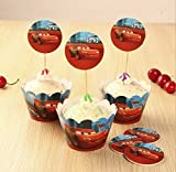 (US) Astra shop Cars Themed Party Cupcake Wrappers with Picks - Makes 12 Cupcakes