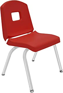 """product image for Creative Colors 1-Pack 14"""" Kids Preschool Stackable Split Bucket Chair in Red with Platinum Silver Frame and Self Leveling Nickel Glide"""